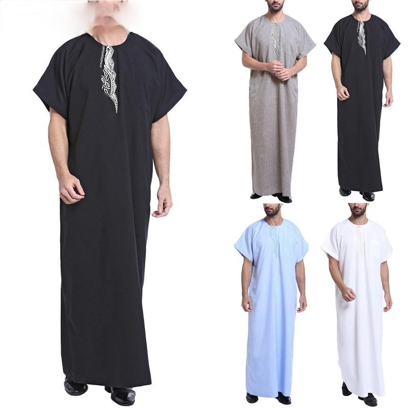 Muslim Dress Kaftan Men Abaya Print Short Sleeve Retro Robes Dubai Saudi Arabia Arab Islamic Kaftan Men Jubba Thobe 2021