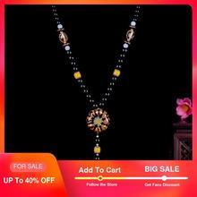 Vintage Ceramic Pendant Necklaces Women Long Ethnic Pumpkin Suspension Necklace Beads Sweater Necklace Fashion Jewelry 2018