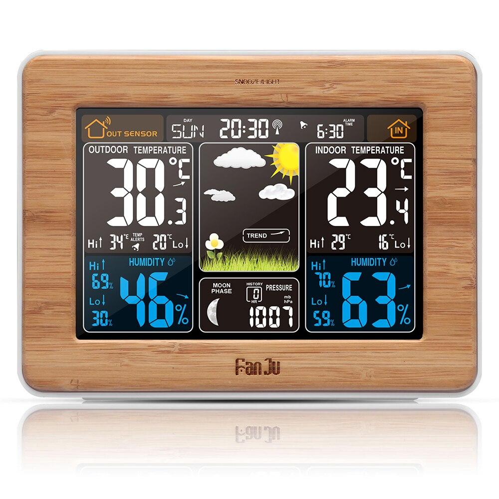 FanJu FJ3365W météo réveil sans fil prévision température lune Phase Snooze Phase lunaire grand écran LED numérique couleur
