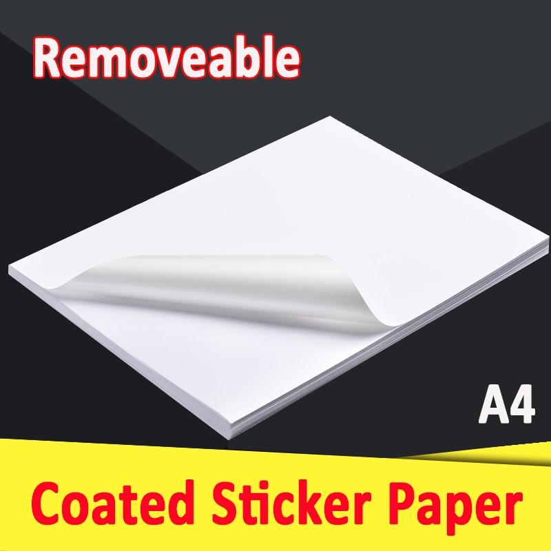 Бумага-наклейка А4 со съемным покрытием, глянцевая матовая для лазерного струйного принтера, многократно перемещаемая этикетка, 20 50 листов