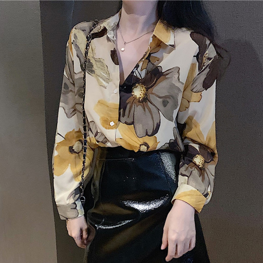 De las mujeres de la moda Casual blusa camisa manga larga blusa botón dulce impresión poliéster camisas Tops personalidad Одежда #