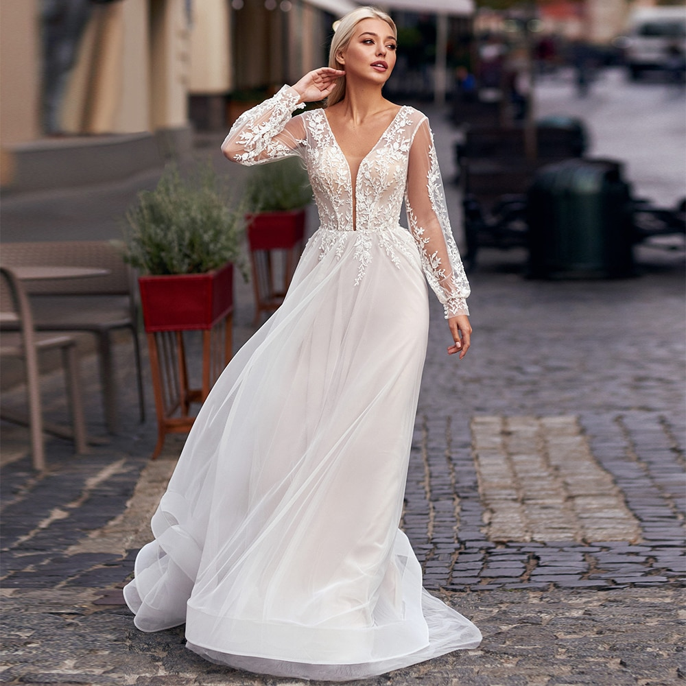 Get Elegant Tulle Lace Long Sleeve Wedding Dresses A-Line Appliques Corset Sweep Train Sexy V-Neck Bridal Gowns Robe De Mariée