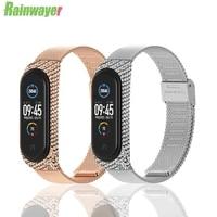 rainwayer smart wrist band bracelet strap for xiaomi mi band 3 4 miband 4 3 strap metal bracelet stainless steel wrist strap z2