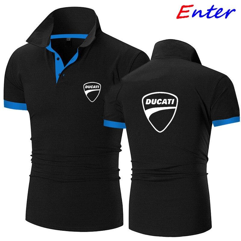 Рубашка-поло мужская летняя стрейчевая рубашка-поло с логотипом Ducati Car мужская рубашка-поло с коротким рукавом Высококачественная Мужская ...