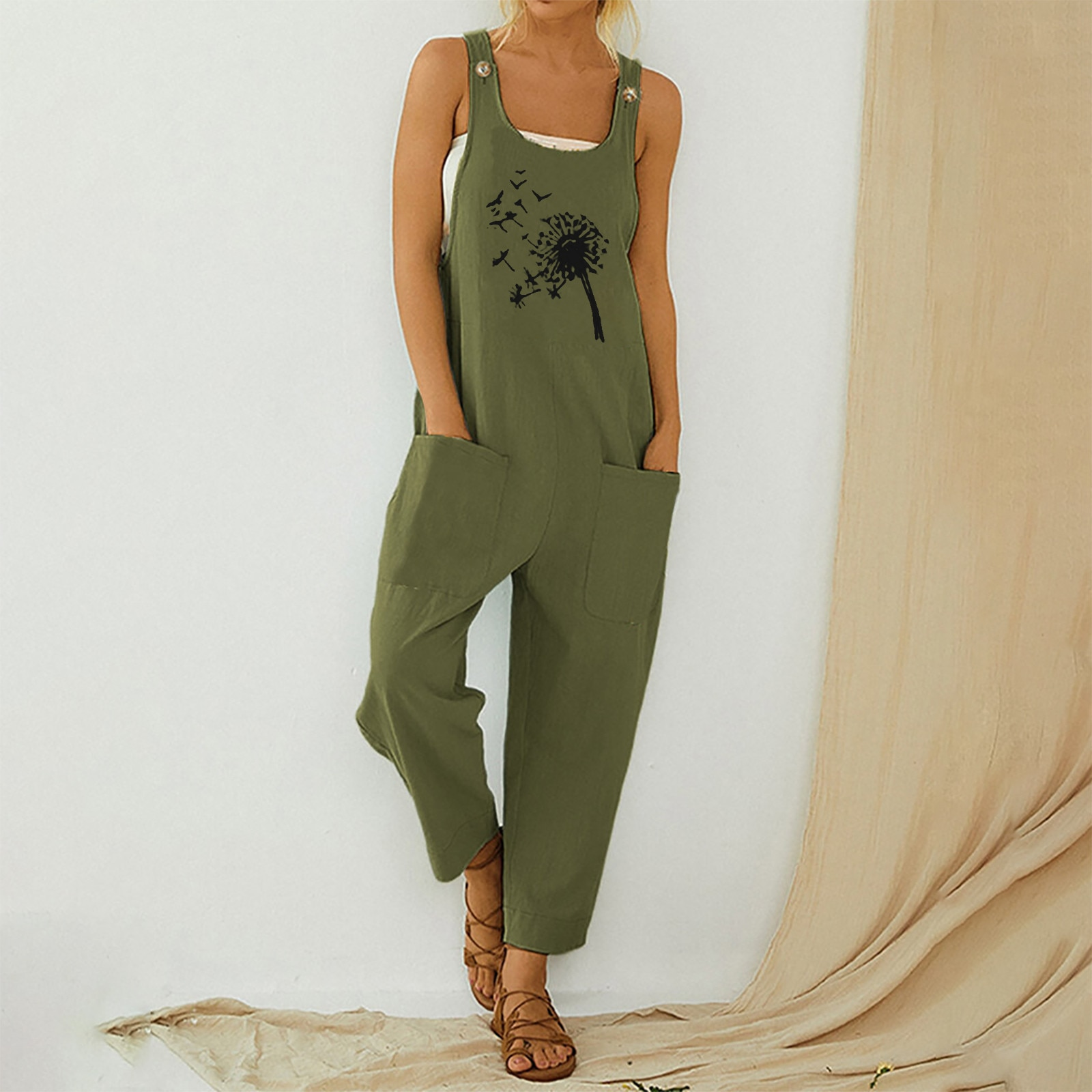 Romper Women Casual Boho Floral Print Jumpsuit Pocket Long Playsuit Strap Sexy Button Clothing mujer боди женское