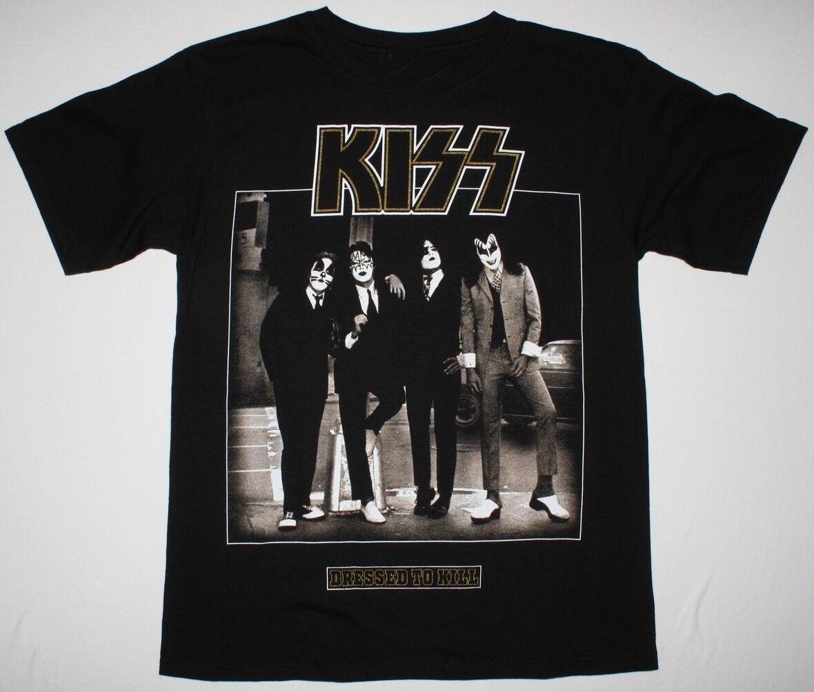 KISS DRESSED TO KILL BLACK T SHIRT HARD N HEAVY GLAM ROCK ACE FREHLEY RATT Man Print T-Shirt Hipster top tee