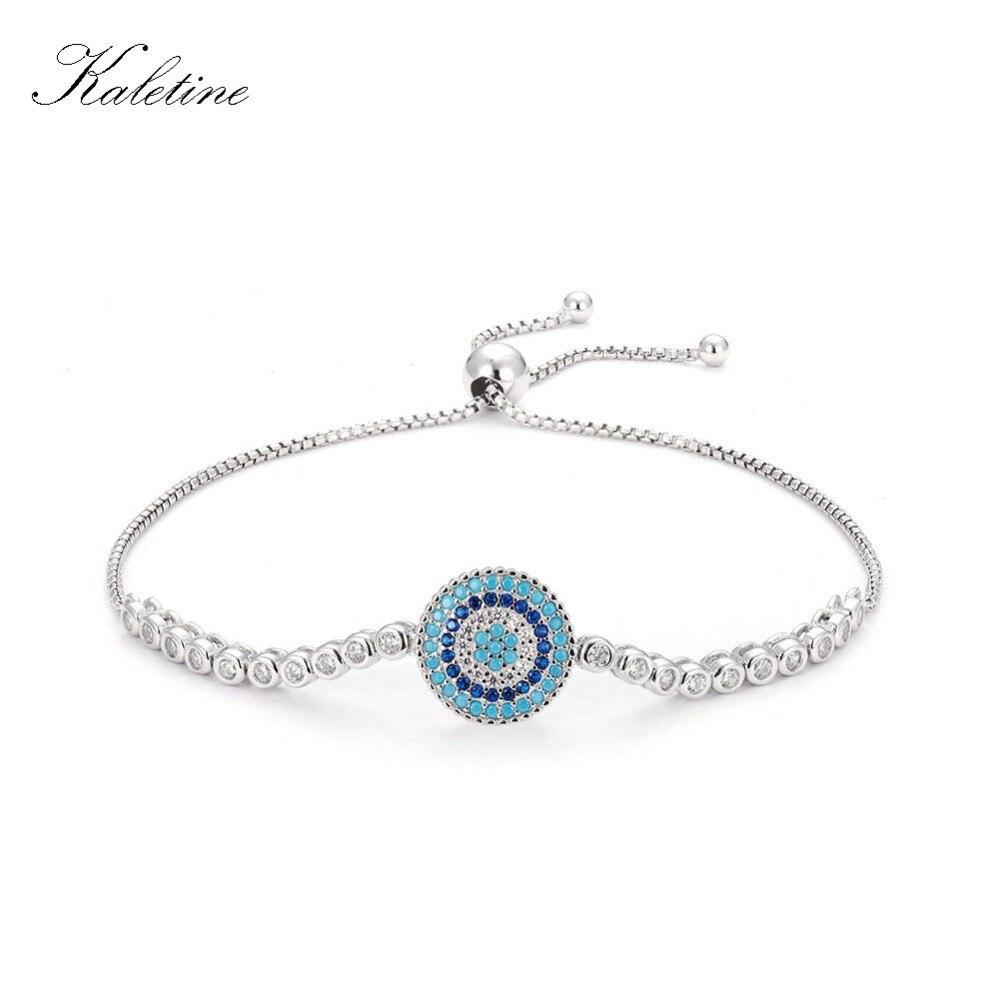 Роскошные стерлингового серебра 925 женщина Браслеты CZ Кристалл Талисманы голубой эмалью сглаза Бусины для Для женщин ювелирные изделия