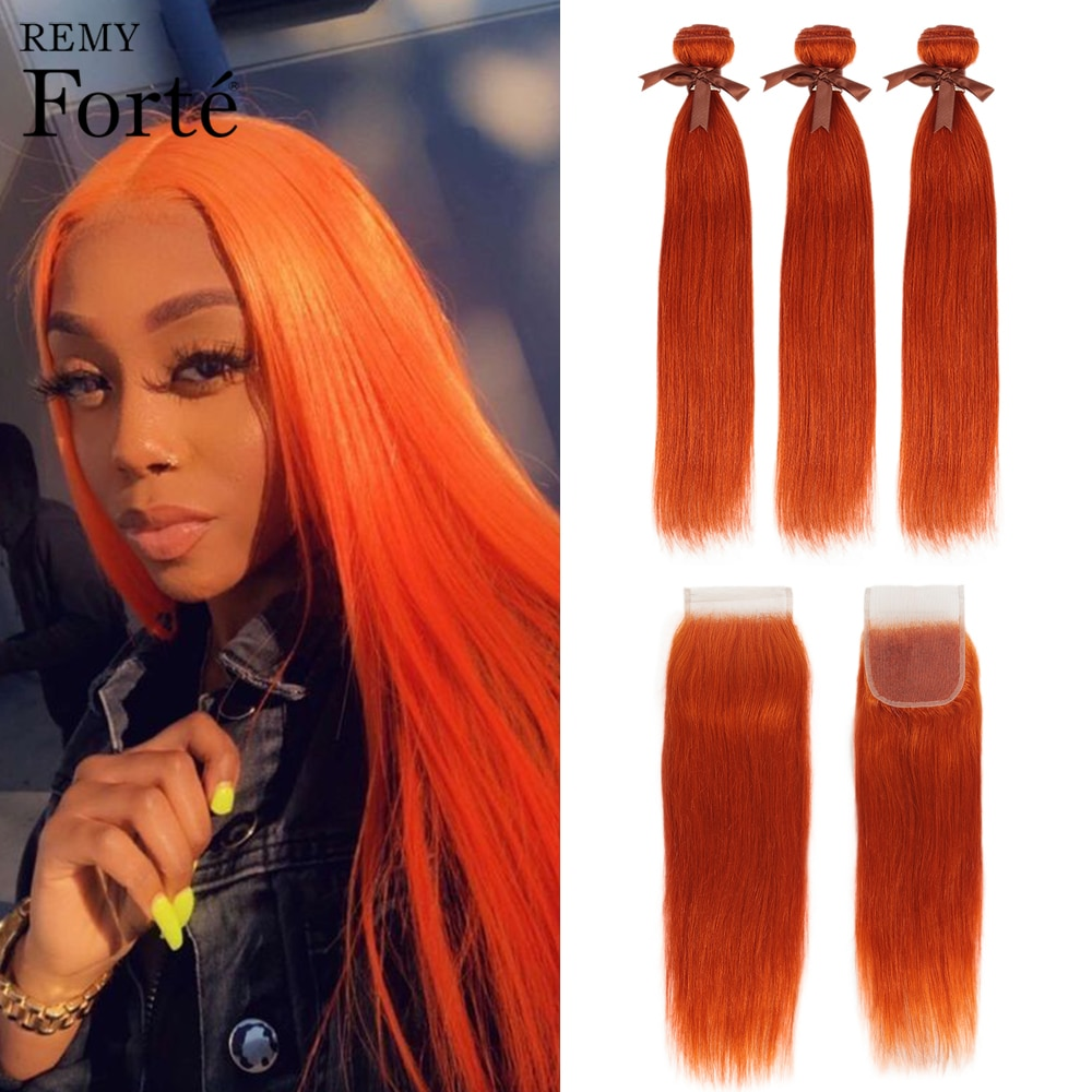 Mechones de pelo rubio naranja Remy Forte con mechones de pelo liso con cierre extensiones de pelo ondulado mechones brasileños 3 mechones Fast USA
