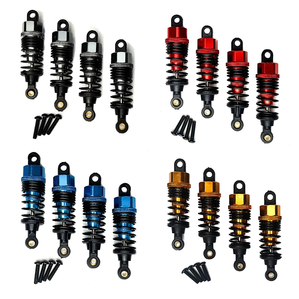 4pcs Alloy Metal Adjustable Front&Rear Shock Absorbers for Tamiya TT-02 TT02 1/10 RC Car Accessories enlarge