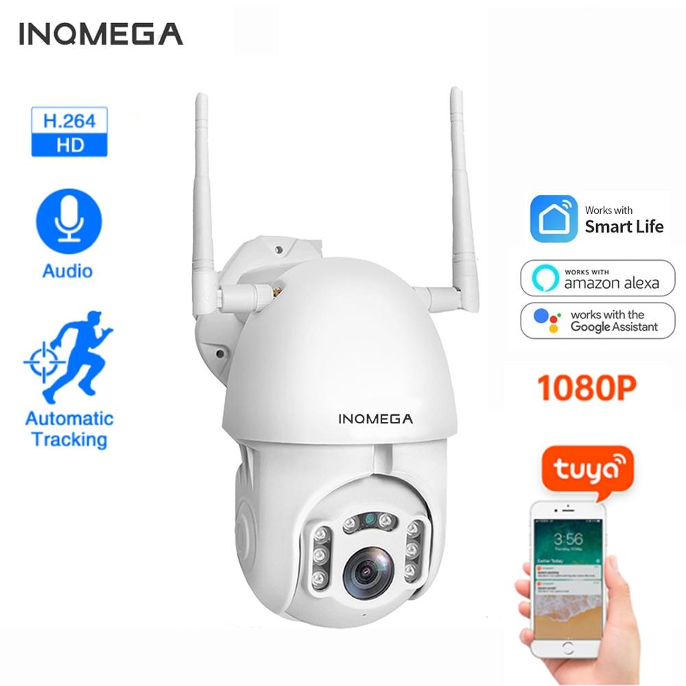 INQMEGA Ip Camera Wifi Tuya Smart 4X Zoom Auto Tracking Outdoor Action Camera P2P Two Voice Alexa 2MP Security CCTV Camera