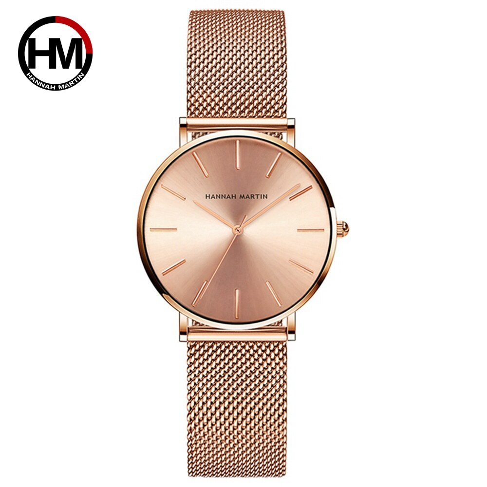 Japan High Quality Quartz Movement Hannah Martin Women 36mm Stainless Steel Mesh Rose Gold Waterproof Ultra-thin Ladies Watch enlarge