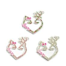 (Choisissez la couleur dabord) 48mm * 37mm 10 pcs/lot complet strass amour cerf en forme de coeur pendentifs pour collier