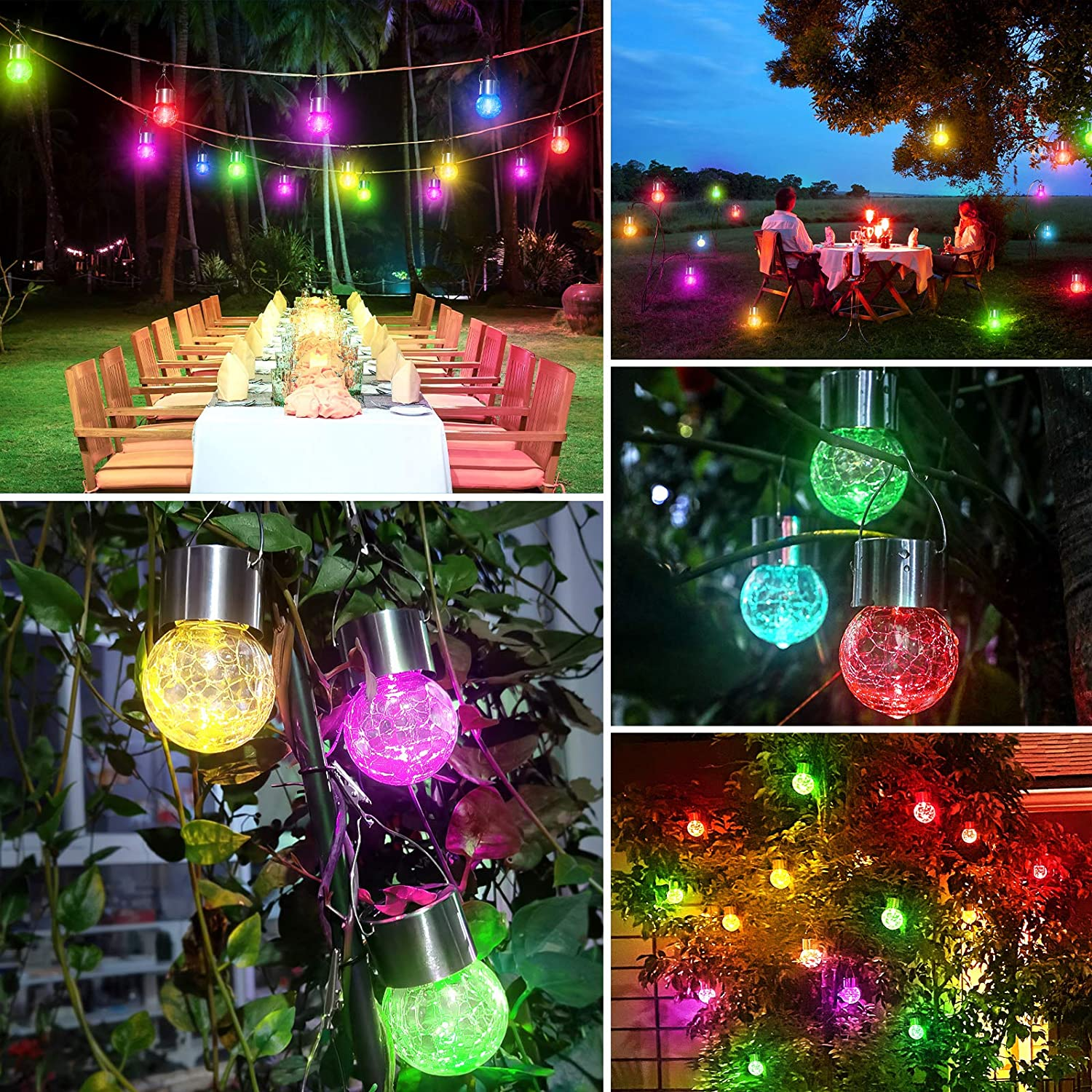 D2 12Pack Hanging Outdoor Solar Lights Cracked Glass LED Ball Lights Tree Solar Light Garden Yard Patio Fence Holiday Lamp Gift