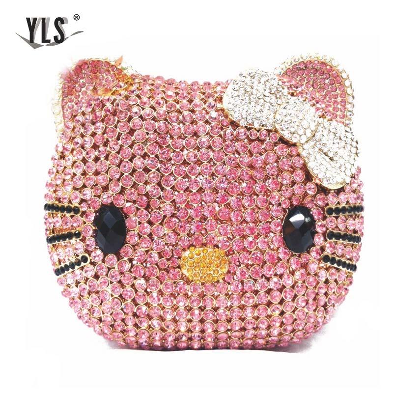 Bolso de mano con diamantes de imitación, Cartera de noche con cristales de gato encantador, en YLS-A02 rosa