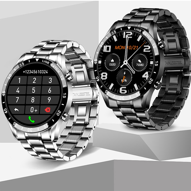 LIGE Full Touch Screen Smart Watch Sports Bluetooth Call Watch  Blood Pressure Monitor Message Reminder Business Smartwatch Men