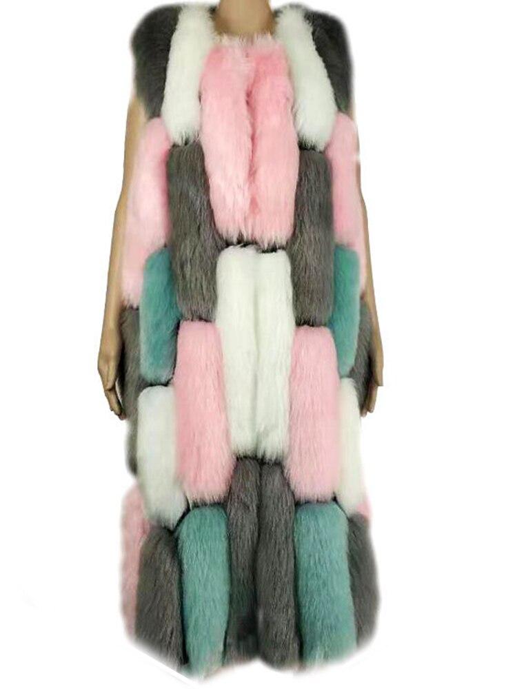 Abrigo mullido mujer Chaleco de piel sintética de color largo de talla grande Maxi cubierto botón grueso chaqueta elegante de talla grande cálido sin mangas Casual