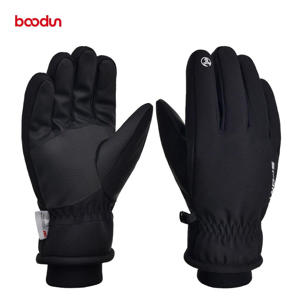 Зимние спортивные лыжные перчатки BOODUN для мужчин и женщин, водонепроницаемые теплые флисовые перчатки, зимние ветрозащитные перчатки для с...