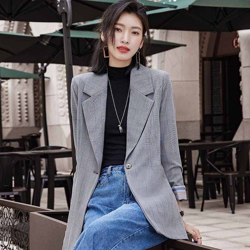 autumn New Fashion Blazer Jacket Women Casual Pockets Long Sleeve Work Suit Coat Office Lady Solid Slim Blazers 2020