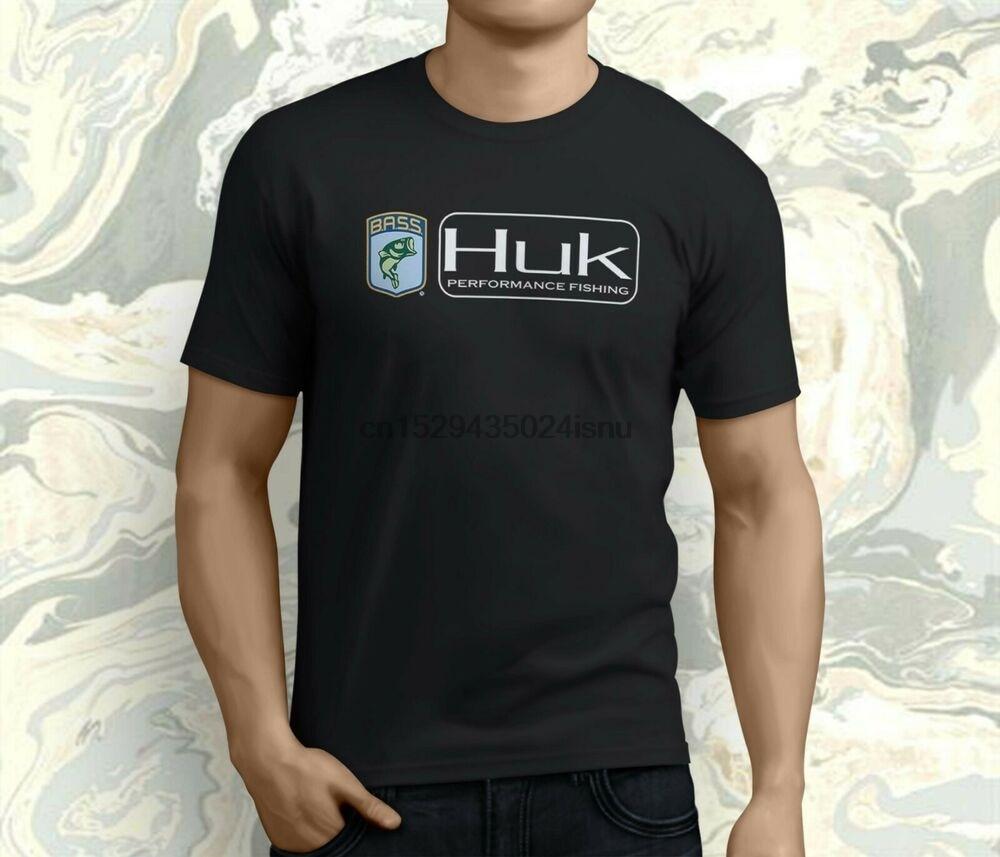 Nueva ropa de pesca HUK Performance, camiseta negra de pesca deportiva roja para hombre, S-3XL