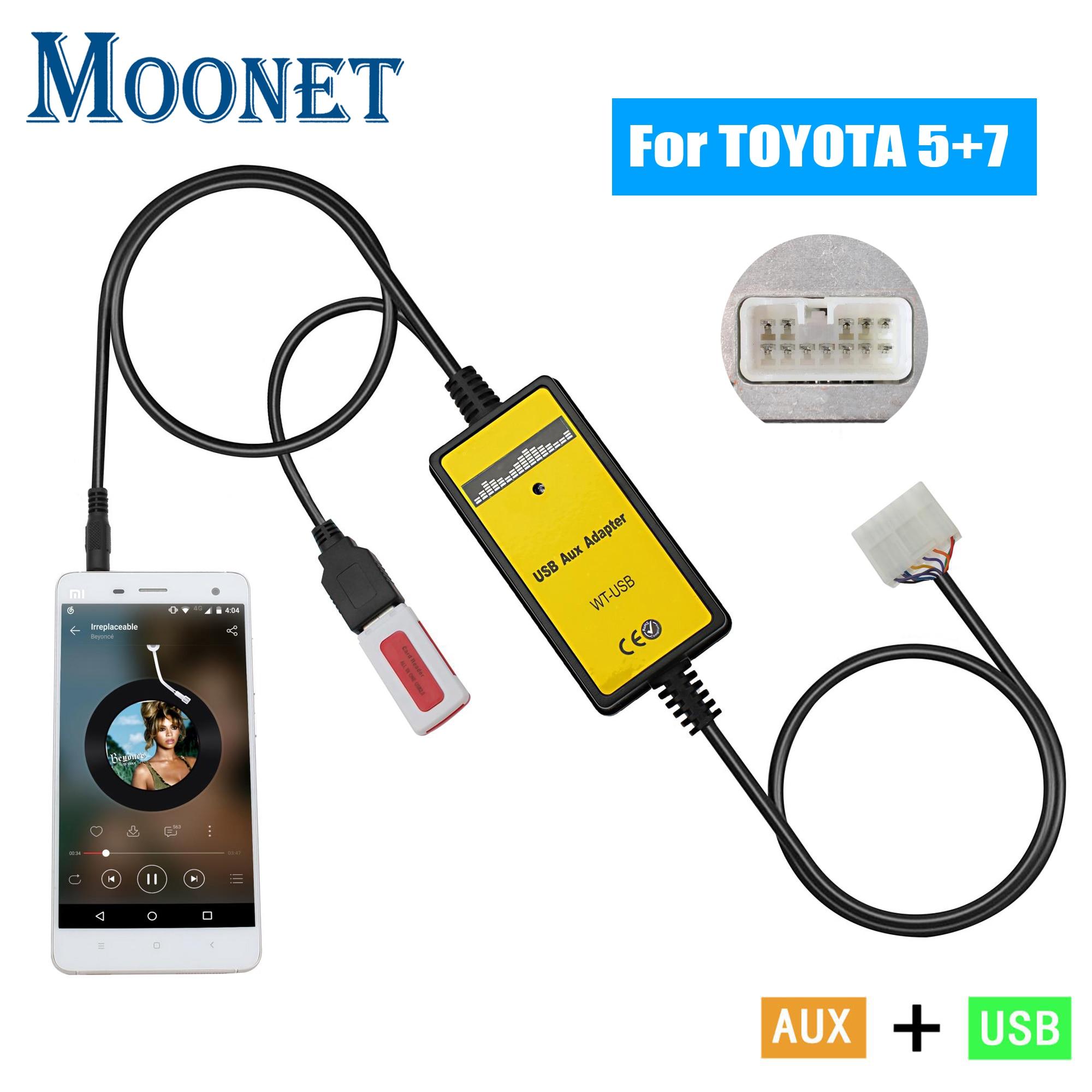 Moonet Автомобильный MP3 AUX USB интерфейс CD Changer 3,5 мм AUX адаптер для Toyota (5 + 7pin) Yaris Camry Corolla Avensis RAV4 QX018