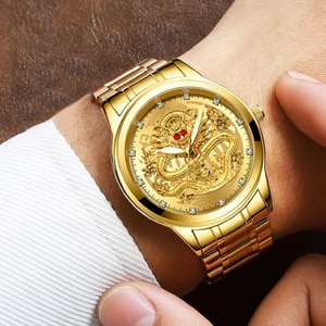 Men's Business Golden Dragons Watch Non-Mechanical Waterproof Watch Suitable For Middle-Aged Men FEA889