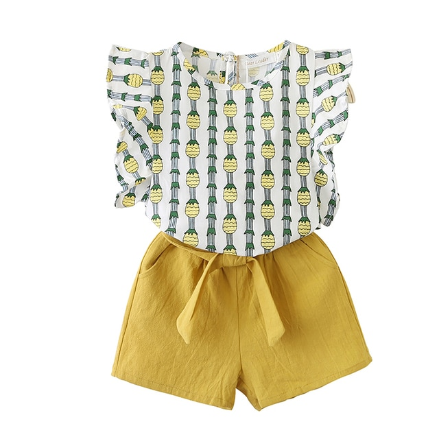 2PCS Cute Girls Sets Clothes Summer Floral Children Clothing Sleeveless T-shirt+Shorts Kids Suit Fashion 3-7T Children Clothes 8