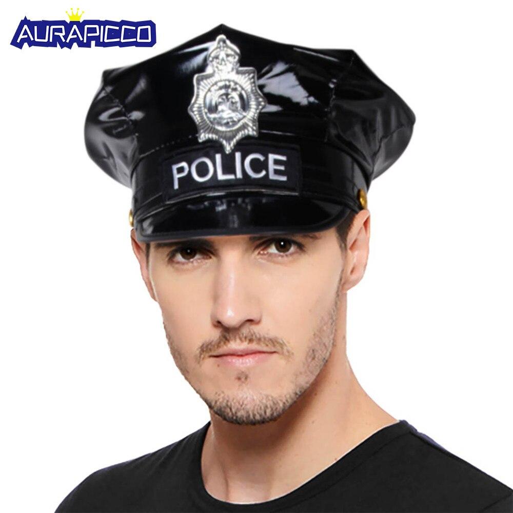 Sombrero de policía para adulto, apariencia mojada negra, gorra de policía de cuero PU, insignia bordada, disfraz de policía sucio, accesorios de fantasía para Halloween