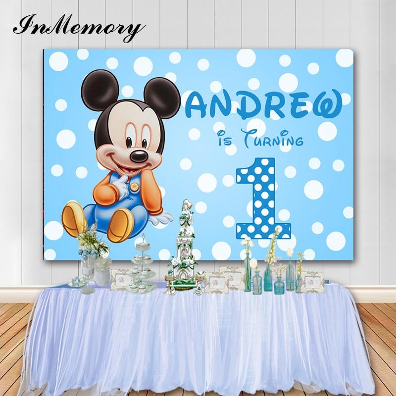 Int Cartoon Baby Mickey Maus Fotografischen Hintergrund Kinder 1st Geburtstag Party Foto Hintergrund Vinyl Booth Requisiten Photophone