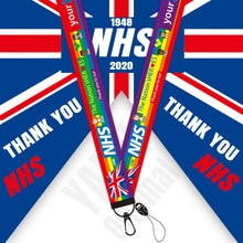Merci NHS lanière aquarelle impression longes coque de téléphone royaume-uni arc-en-ciel lanière porte-Badge porte-clés NA2245