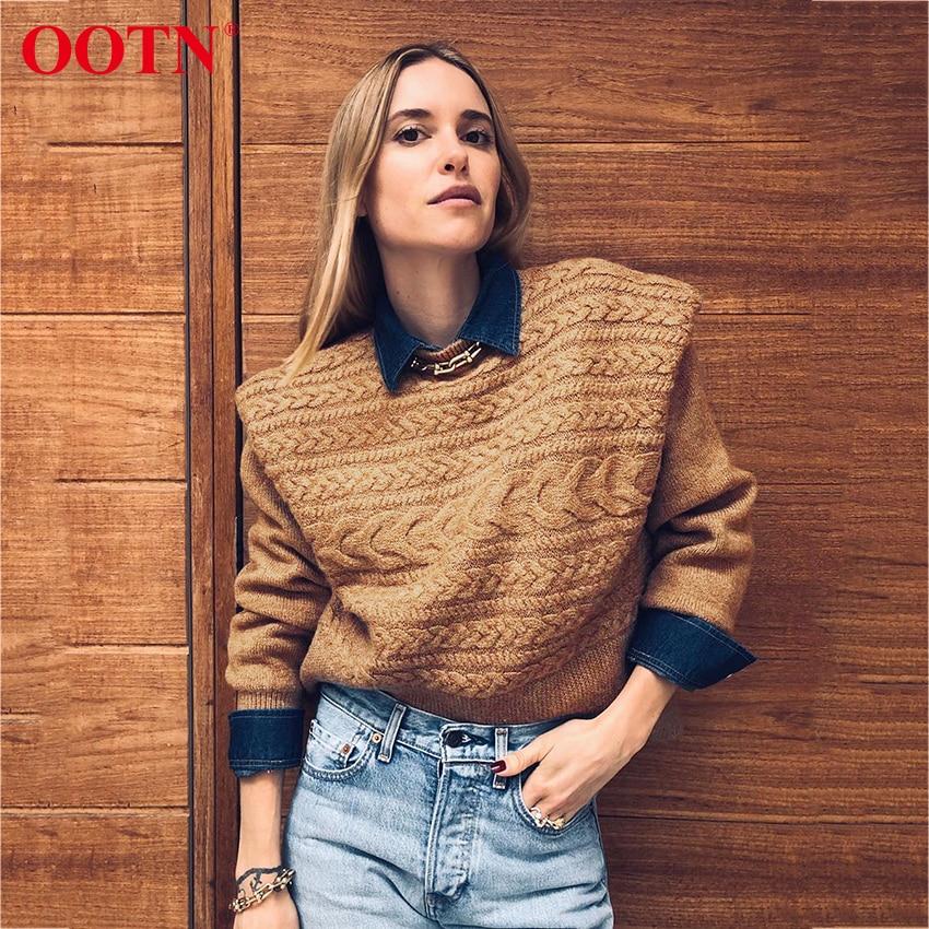 Ootn outono inverno feminino pulôver camisola cáqui de malha manga longa camisola feminina casual o pescoço senhoras jumper streetwear 2020