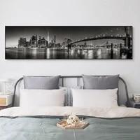 Affiche sur toile imprimee nordique moderne  longue ville nuit  scene noire et blanche  Art mural  paysage  peinture sur toile  salon  decoration de maison