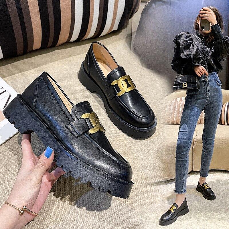 Black Platform Shoes Women's Loafers 2021 Designer Heels Woman Sneakers Party Shoes Ladies Pumps Heels Women's Spring Footwear