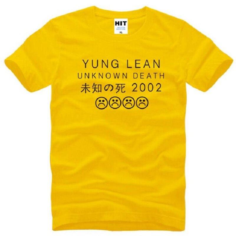 YUNG LEAN UNKOWN DEATH Rock camisetas de impresión de verano de manga corta O cuello de algodón para hombres camiseta de moda de Rap masculino parte de arriba de estilo Hip Hop Tees