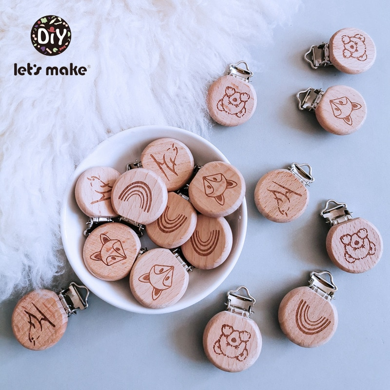 AliExpress - Let's Make Pacifier Clip Cartoon Engrave Wooden Soother Clip 3pcs Nursing Accessories Diy Dummy Clip Chains Wooden Baby Teether