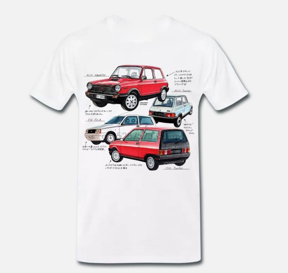 Camisetas Camiseta Blanquita Autobianchi A112 Y10 Tribute Vintage monto 1-S-M-L camiseta XL para jóvenes de mediana edad