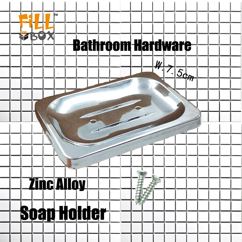 FIXWORK Zinc Alloy Metal Soap Holder Bathroom With 2 Screws Accessories Portable Square Storage Shampoo Box Dishes