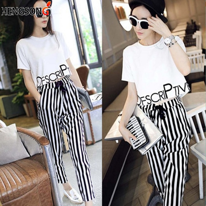 Womens Set Summer White Letter Printed T Shirt Sexy Cropped Tops +Striped Pants Calf Length Casual Tracksuit S