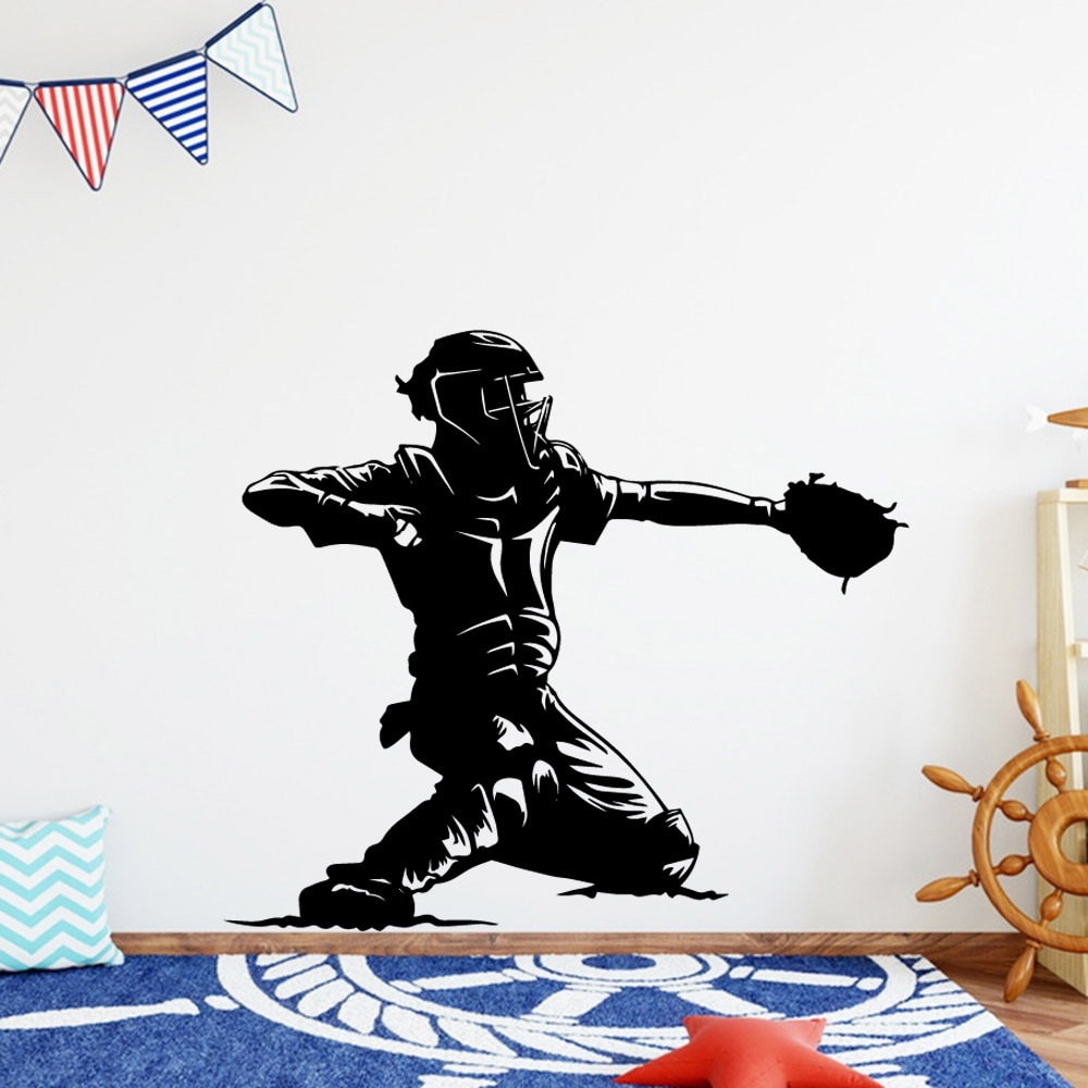 Creative baseball Wall Art Sticker Modern Wall Decals Quotes Vinyls Stickers Living Room Children Room Mural Poster