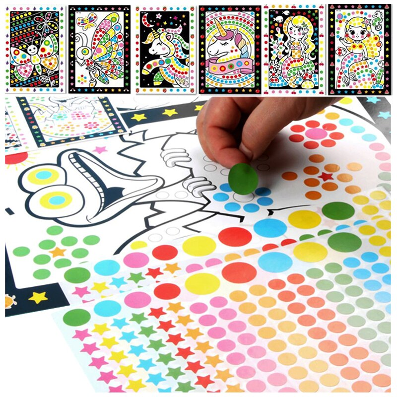 DIY Mosaic Dot Cartoon Stickers for Kids Concentration Patience Coordination Training Montessori Learning Education Toys Gifts