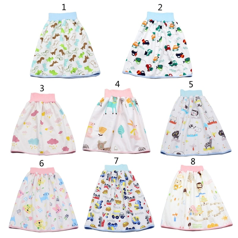 Baby Diaper Training Skirt Cotton High Waist Waterproof Diaper Skirt Children Baby Cloth Diaper Urination Skirt L4MC baby cloth diaper sprayer system with copper inside attached in the toilet high speed water easy to wash soiled cloth diaper