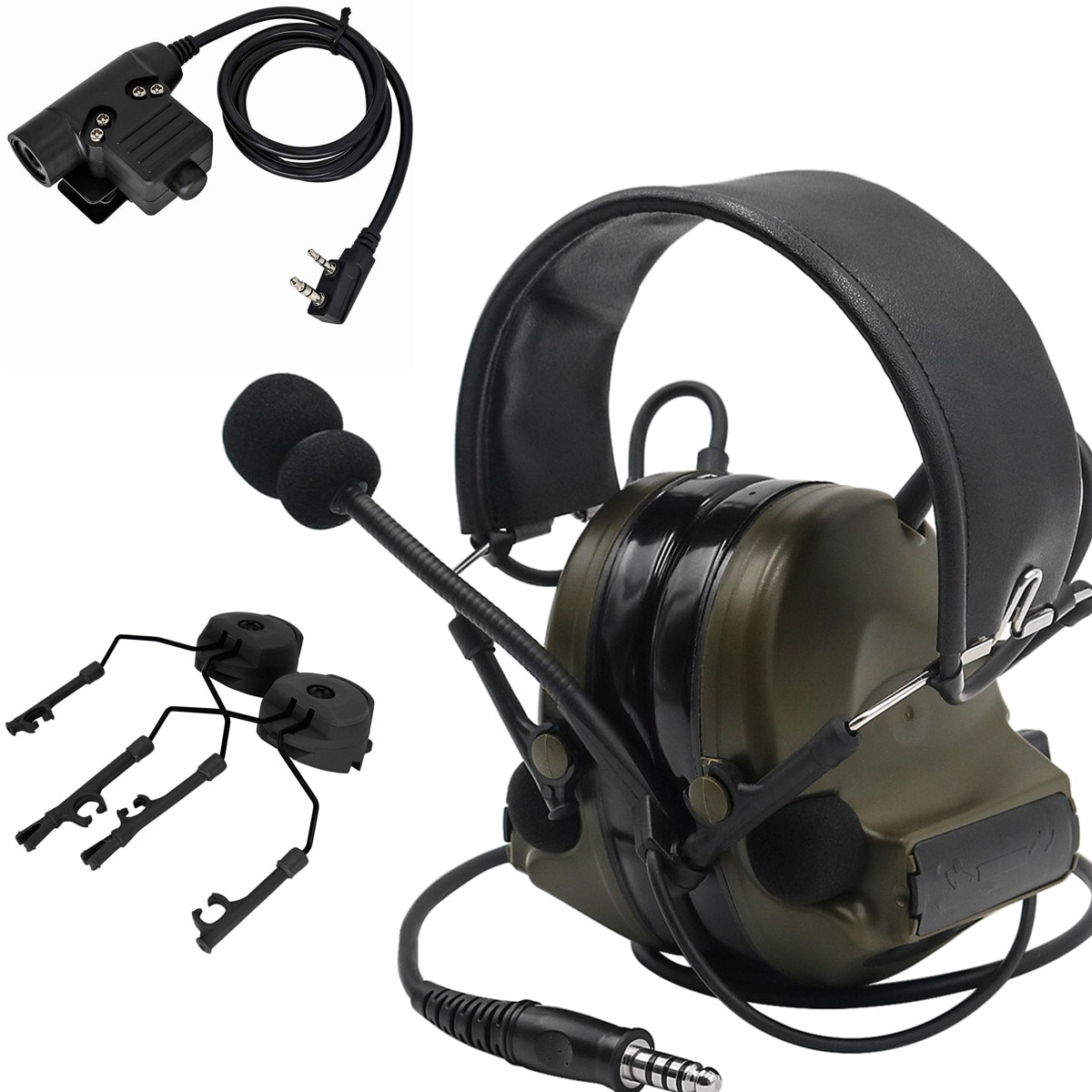 Tactical COMTAC II Noise Reduction Pickup Hunting Shooting Headset and Tactical U94 PTT and Tactical Helmet ARC Rail Adapter FG