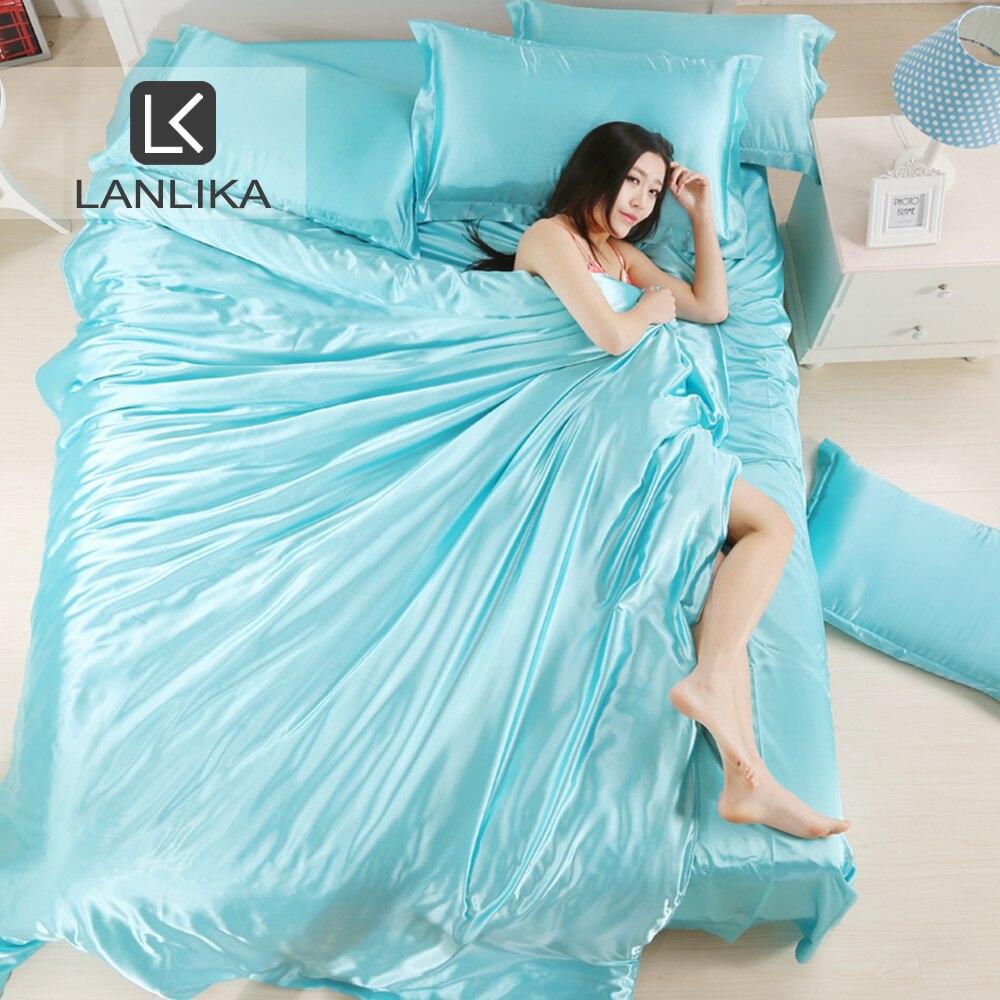 Lanlika, ropa de cama de satén de lujo de seda azul claro, funda de edredón suave de tamaño Queen King, Textiles para el hogar, ropa de cama para adultos, colcha de lino