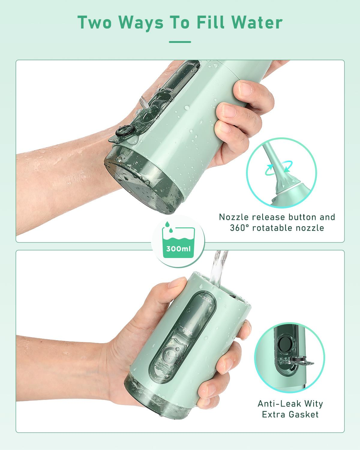 Liberex Portable Water Flosser USB Rechargeable Oral Irrigators 4 Modes 5 Jet Tips OLED IPX7 waterproof Tooth Irrigator 300ml enlarge