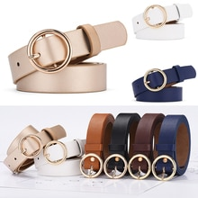 Fashion Women Belt Classic Solid Genuine Leather Waistband Wide Strap Belts Ladies Round Buckle Jean