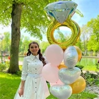 10pcs big diamond ring balloon heart pink wedding bridal shower just married foil ball bride to be party decoration supplies