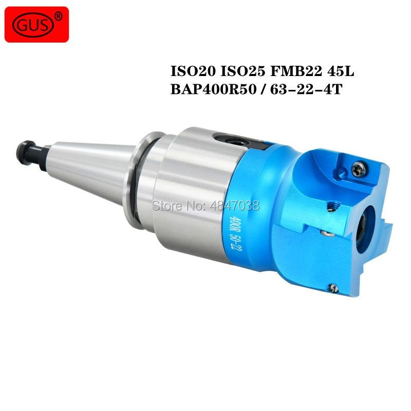 1 Set ISO20 ISO25 FMB22 45L Milling Tool Holder + BAP400R50 / 63-22-4T Right Angle Cutter Head for CNC Milling