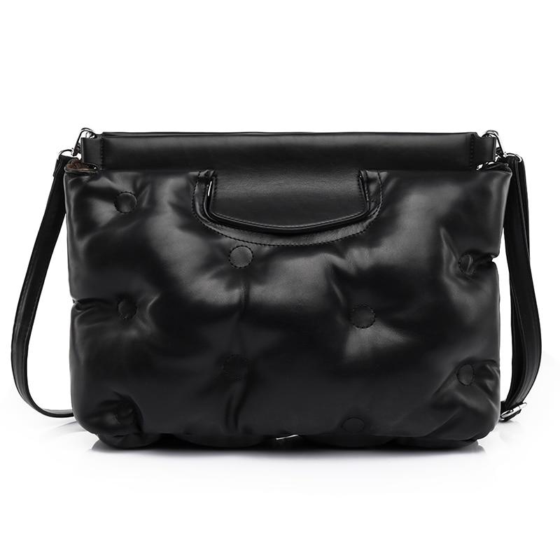 YANIGELAN Soft Leather Pleated Cloud Messenger Pack High Quality Women Crossbody Bags Handbags And Purse сумки женские брендовые