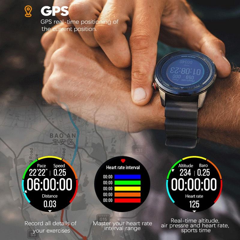 NORTH EDGE Men's Smart Watch GPS Men's Compass Waterproof Diving 50M Heart Rate Fitness Outdoor Watch enlarge