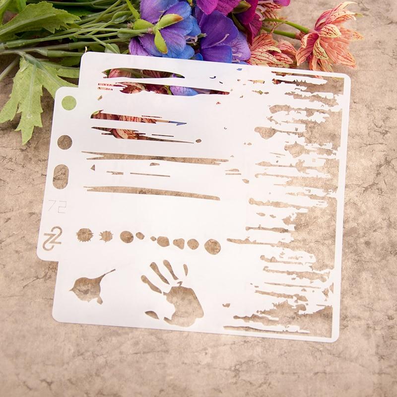 """13cm 5,1 """"mano Impresión de tinta DIY capas plantilla para pintura libro de recortes colorear tarjeta decorativa en relieve para álbum plantilla"""