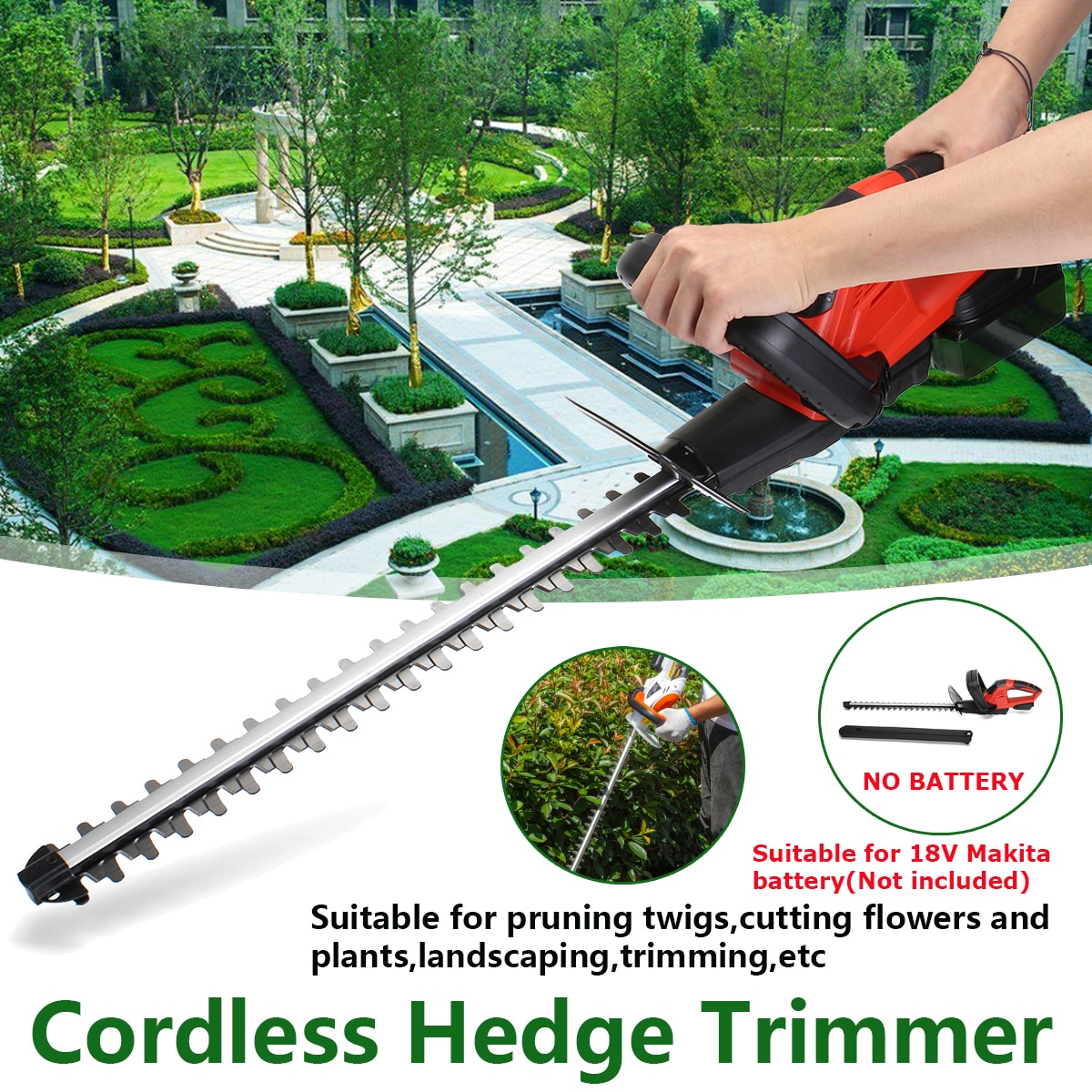 21V Electric Trimmer Brussless Cordless Hedge Trimmer Weeding Shear Electric Pruning Saw with Dual Blade For 18V Makita battery